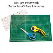 Kit Base De Corte A3 Com Régua, Cortador e Tesoura Patchwork