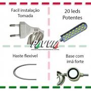 Luminária 20 Leds Com Haste Flexível e Tomada Para Máquina Costura
