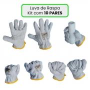 Luva De Raspa Cano Curto Kit com 10 Pares