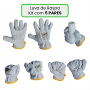Luva De Raspa Cano Curto Kit com 5 Pares