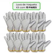 Luva De Vaqueta Cano Curto Kit com 10 Pares