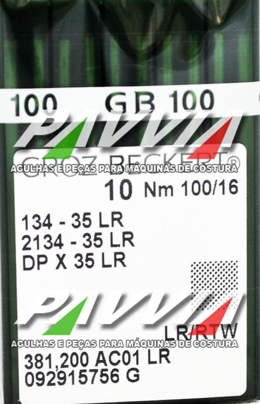 Agulha 134-35 LR 100/16 GROZ-BECKERT  Agulha longa, Caixa com 100 unidades