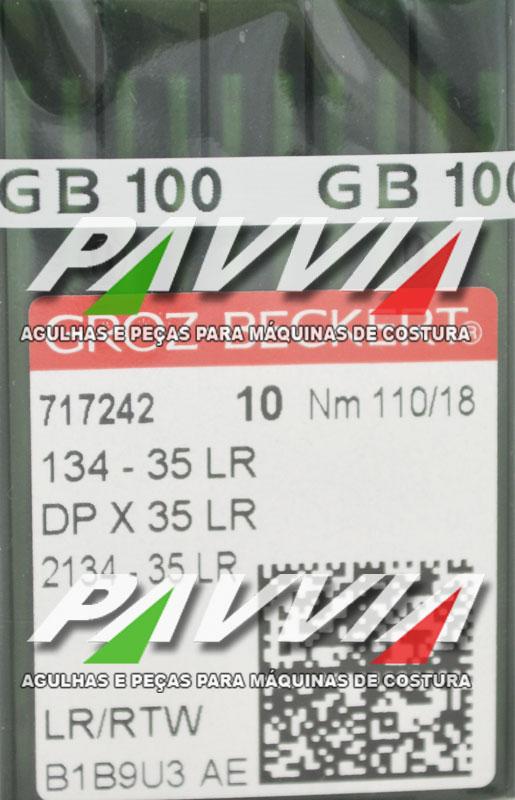 Agulha 134-35 LR 110/18 GROZ-BECKERT  Agulha longa, Caixa com 100 unidades