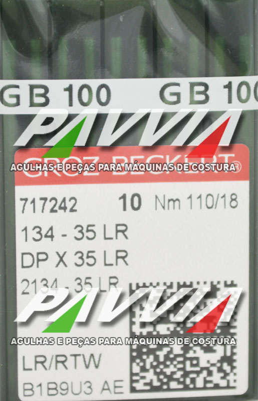 Agulha 134-35 LR 110/18 GROZ-BECKERT  Agulha longa, Pacote com 10 unidades
