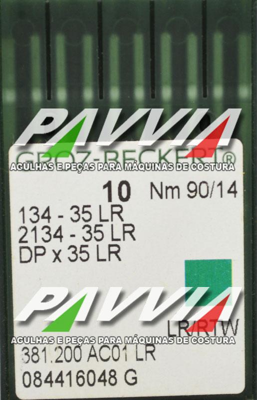 Agulha 134-35 LR .90/14 GROZ-BECKERT  Agulha longa, Caixa com 100 unidades