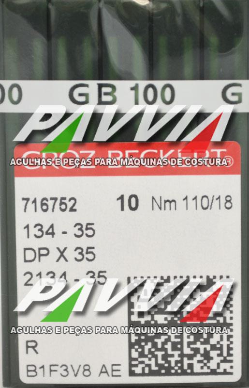 Agulha 134-35 R 110/18 GROZ-BECKERT   Agulha longa, Caixa com 100 unidades
