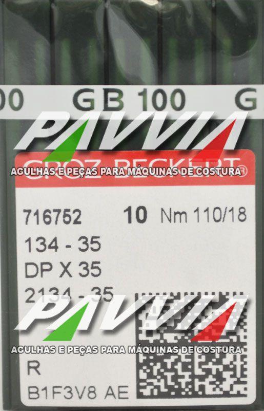Agulha 134-35 R 110/18 GROZ-BECKERT   Agulha longa, Caixa com 100 unidades  - Pavvia Agulhas e Peças