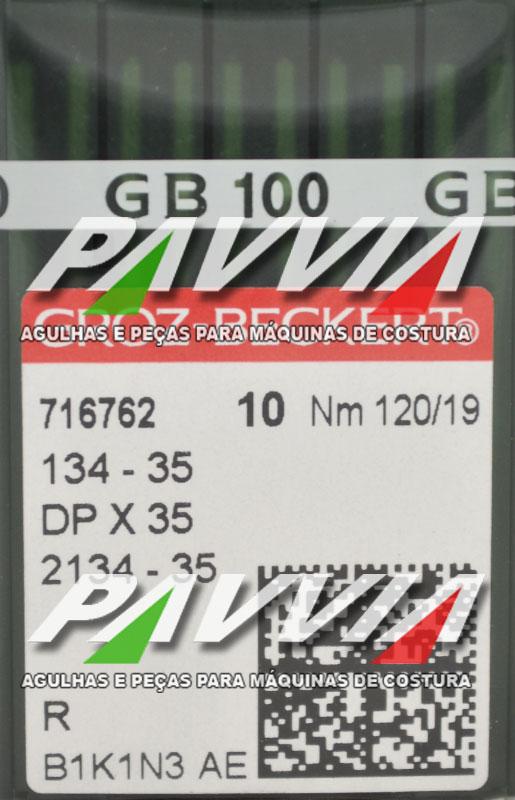 Agulha 134-35 R 120/19 GROZ-BECKERT   Agulha longa, Pacote com 10 unidades