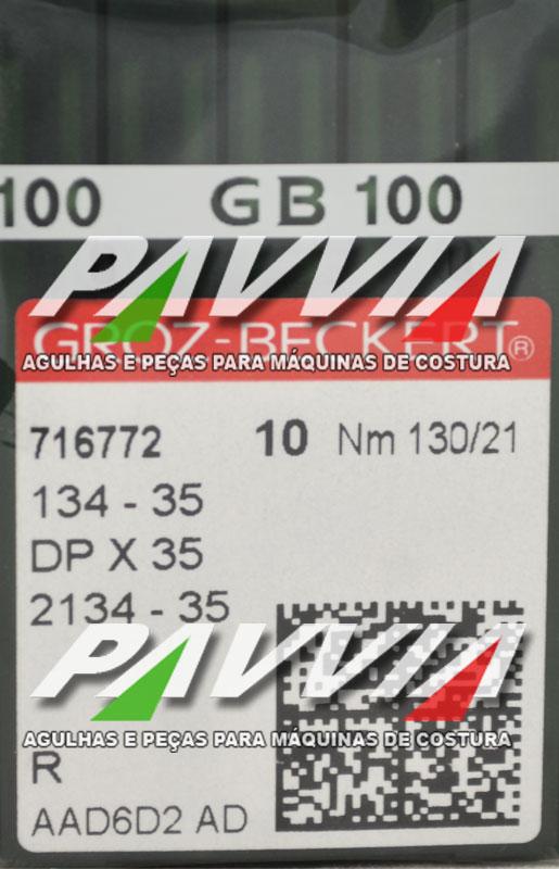 Agulha 134-35 R 130/21 GROZ-BECKERT Agulha longa, Caixa com 100 unidades