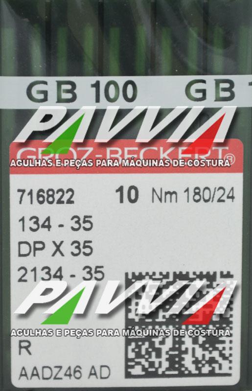 Agulha 134-35 R 180/24 GROZ-BECKERT   Agulha longa Pacote com 10 unidades
