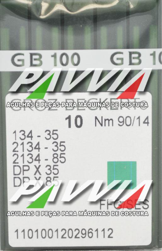 Agulha 134-35 R .90/14 GROZ-BECKERT  Agulha longa, ponta Redonda. Pacote