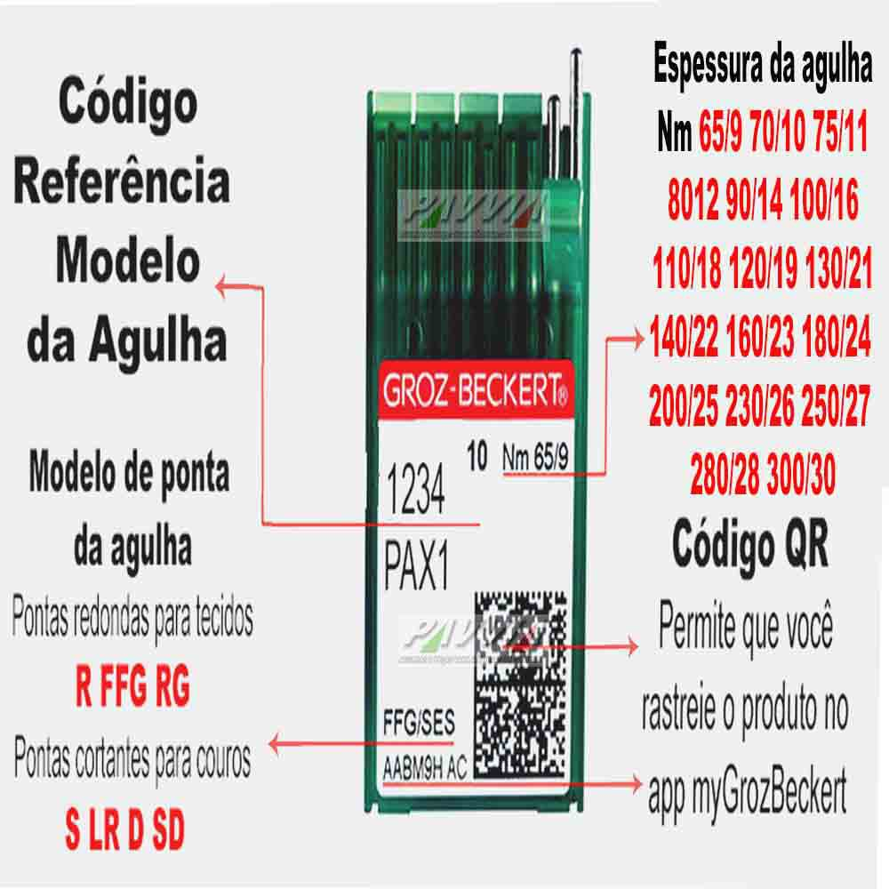 Agulha para máquina de costura 134 R DPX5 R 120/19 GROZ-BECKERT Pacote   - Pavvia Agulhas e Peças