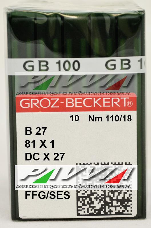 Agulha B 27 ou DC X 27 FFG 110/18 GROZ-BECKERT Pacote com 10 unidades