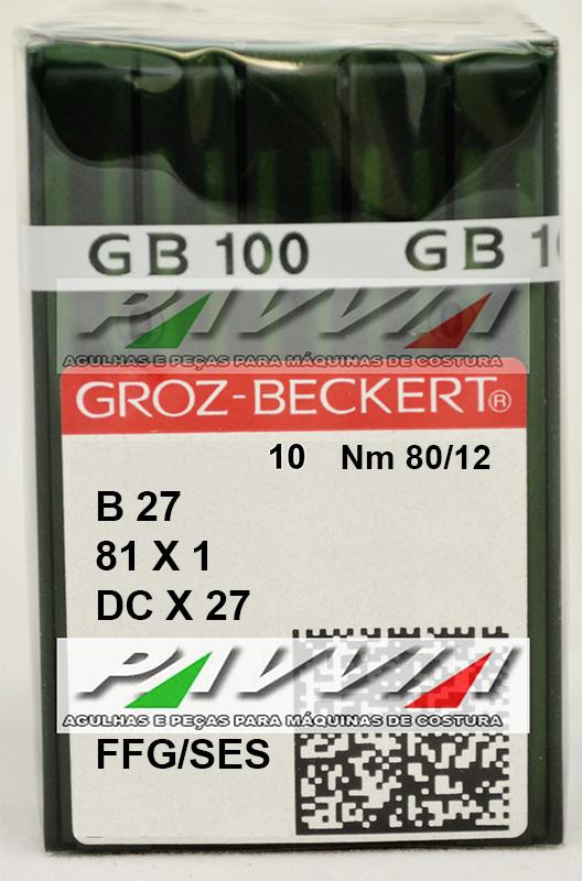 Agulha B 27 ou DC X 27 FFG .80/12 GROZ-BECKERT Pacote com 10 unidades