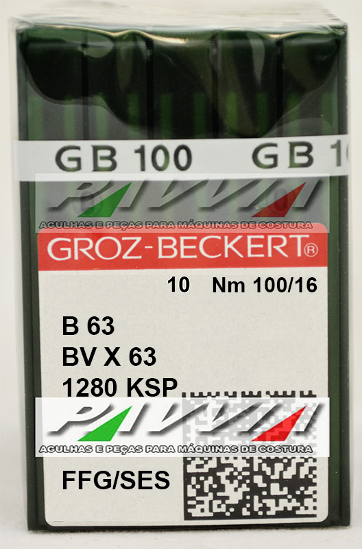 Agulha B 63 ou DV X 63 FFG 100/16 GROZ-BECKERT Pacote com 10 unidades
