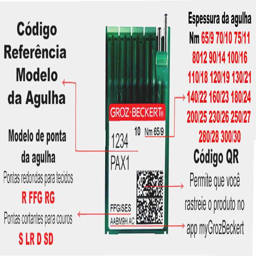 Agulha Groz-Beckert Para Máquina de Costura Reta DBX1 1738  FFG Ponta Bola Cabo Fino, Caixa com 100 unidades   - Pavvia Agulhas e Peças