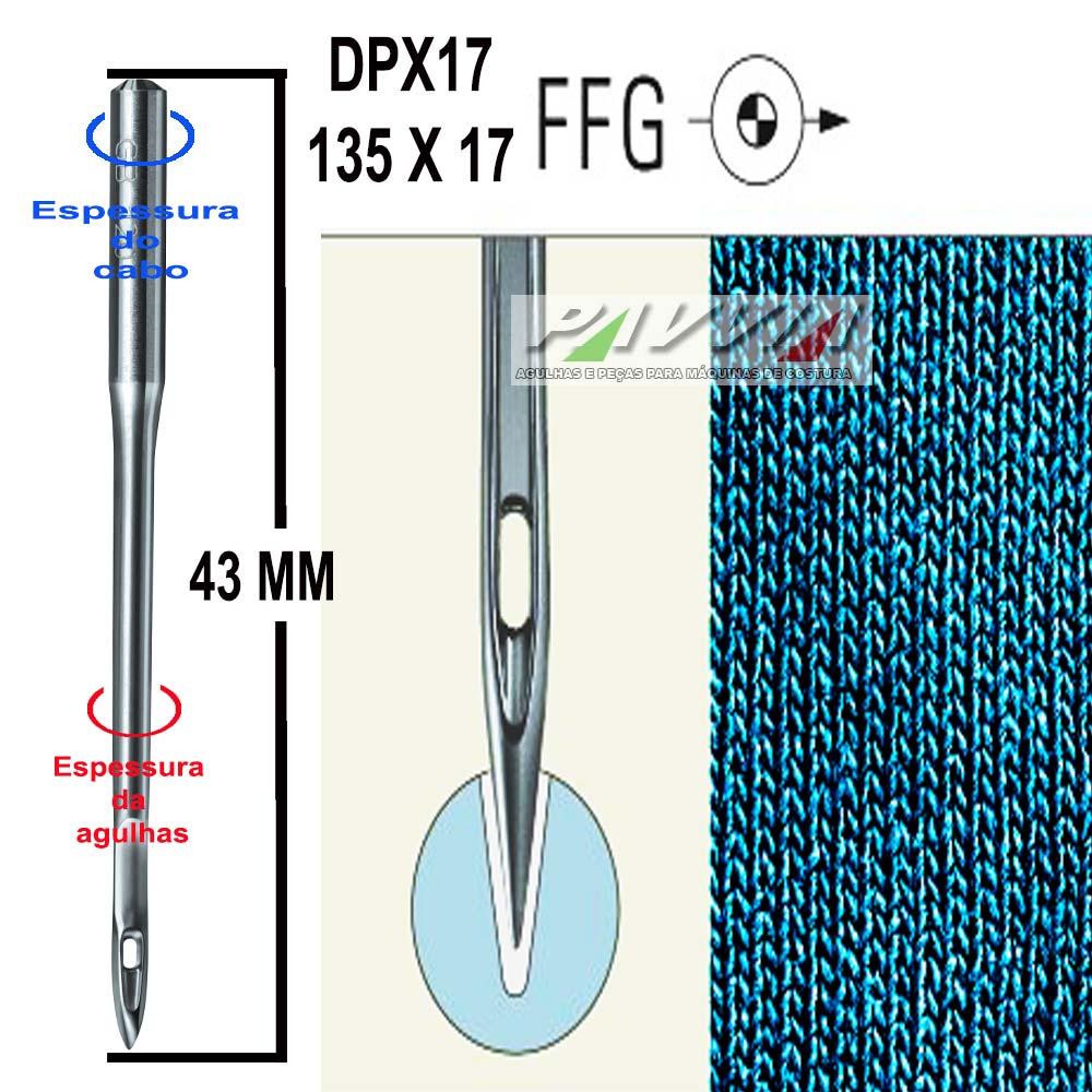 Agulha longa para máquina de costura DPX17 135X17 FFG .80/12 Groz-Beckert P  - Pavvia Agulhas e Peças