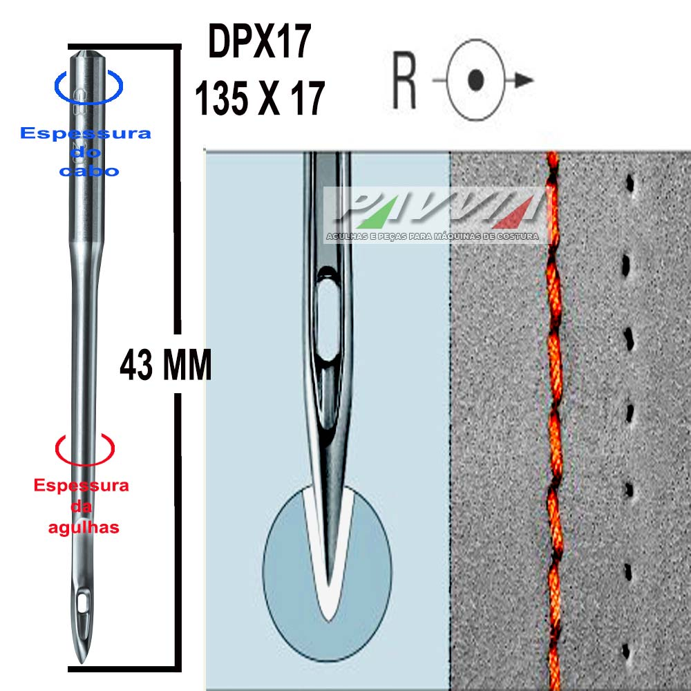 Agulha longa para máquina de costura DPX17 135X17 R 180/24 Groz-Beckert P  - Pavvia Agulhas e Peças
