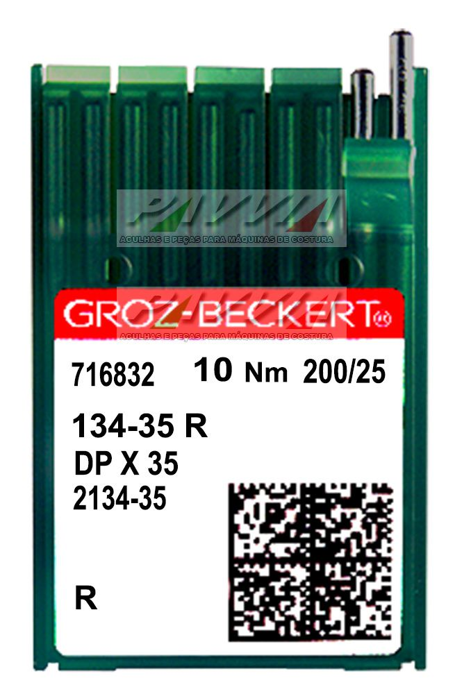 Agulha longa para máquina de costura industrial 134-35 R 200/25 Groz-Beckert Caixa  - Pavvia Agulhas e Peças