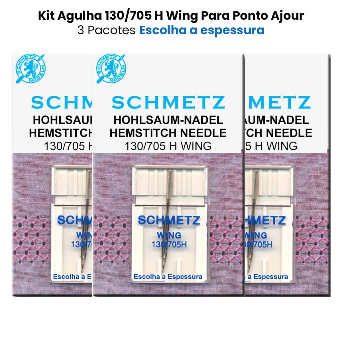 Agulha Máquina De Costura Doméstica 130/705 H Wing Ponto Ajor Kit com 3 Agulhas  - Pavvia Agulhas e Peças