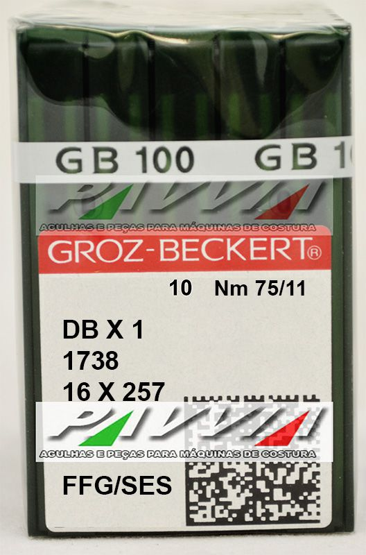 Agulha Para Maquina Cabo Fino 1738 ou DB X 1 FFG / SES .75/11 Caixa com 100 unidades