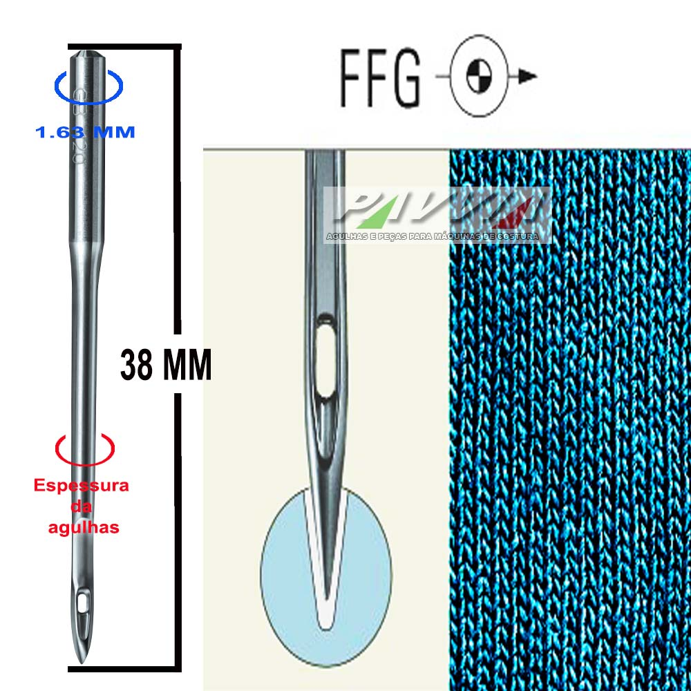 Agulha para máquina de bordar DB X K5 FFG Escolha a espessura Groz-Beckert   - Pavvia Agulhas e Peças