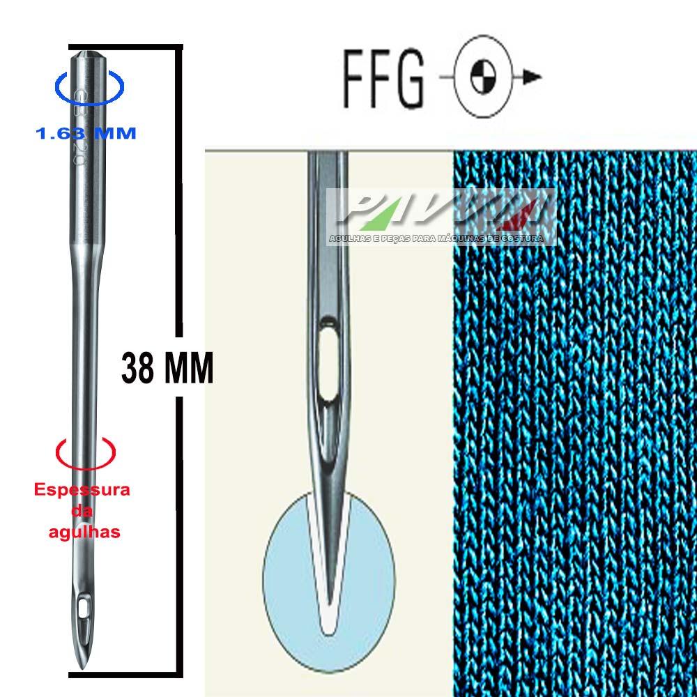 Agulha para máquina de bordar DB X K5 FFG Escolha a espessura Pacote com 10 unidades   - Pavvia Agulhas e Peças