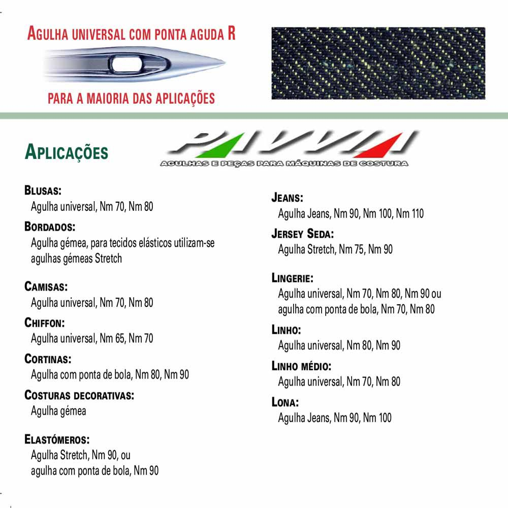 Agulha para maquina DOMESTICA Cabo Chato 130/705 110/ 18 Pacote
