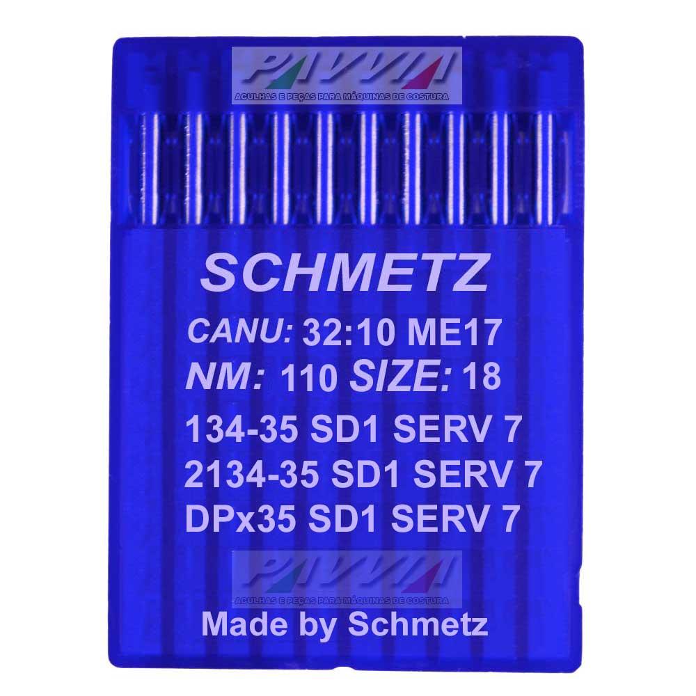 Agulha Schmetz Para Máquina De Costura 134-35 SD 1 SERV 7 110/18 Caixa Com 100 Unidades  - Pavvia Agulhas e Peças