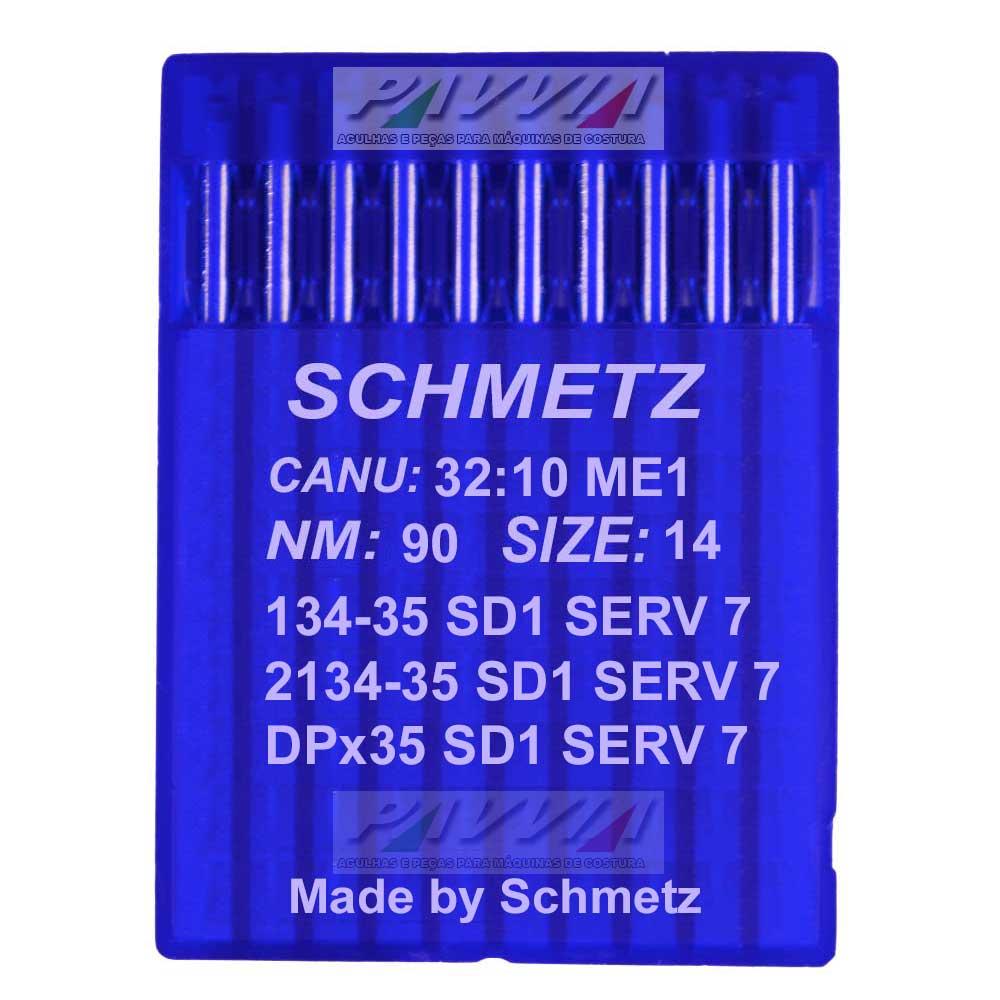 Agulha Schmetz para máquina de costura 134-35 SD 1 SERV 7 .90/14  - Pavvia Agulhas e Peças