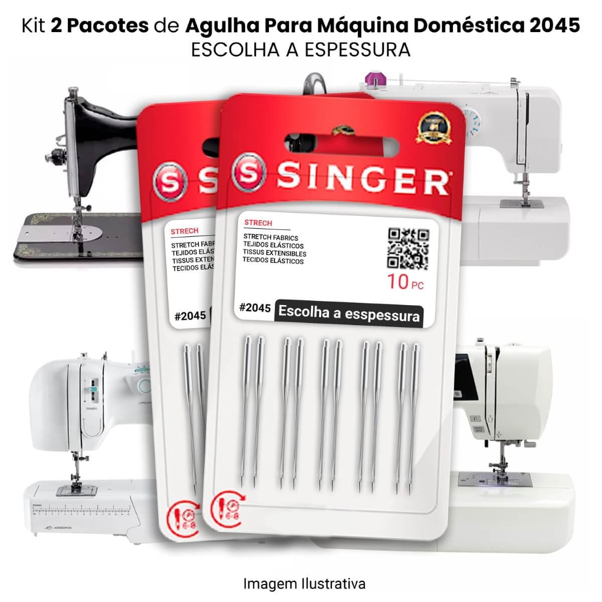 Agulha Singer Para Máquina de Costura Domestica 2045 130/705 (KIT Com 2 Pacotes)  - Pavvia Agulhas e Peças
