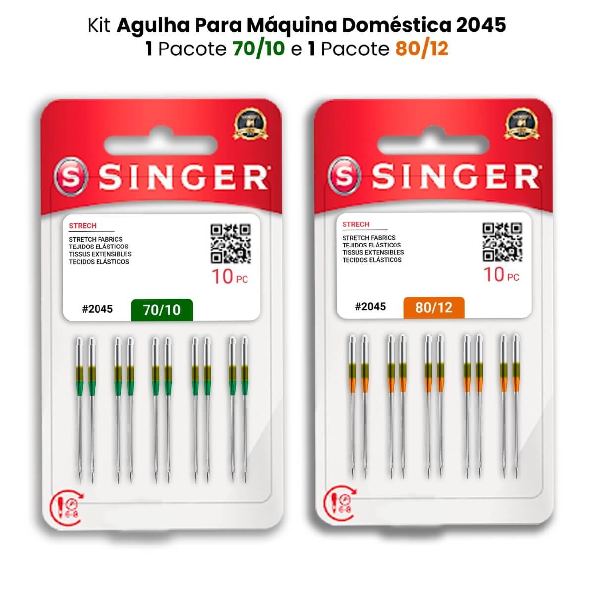 Agulha Singer Para Máquina de Costura Domestica 2045 130/705 Kit com 2 PCT 70/10 e 2 PCT 80/12  - Pavvia Agulhas e Peças