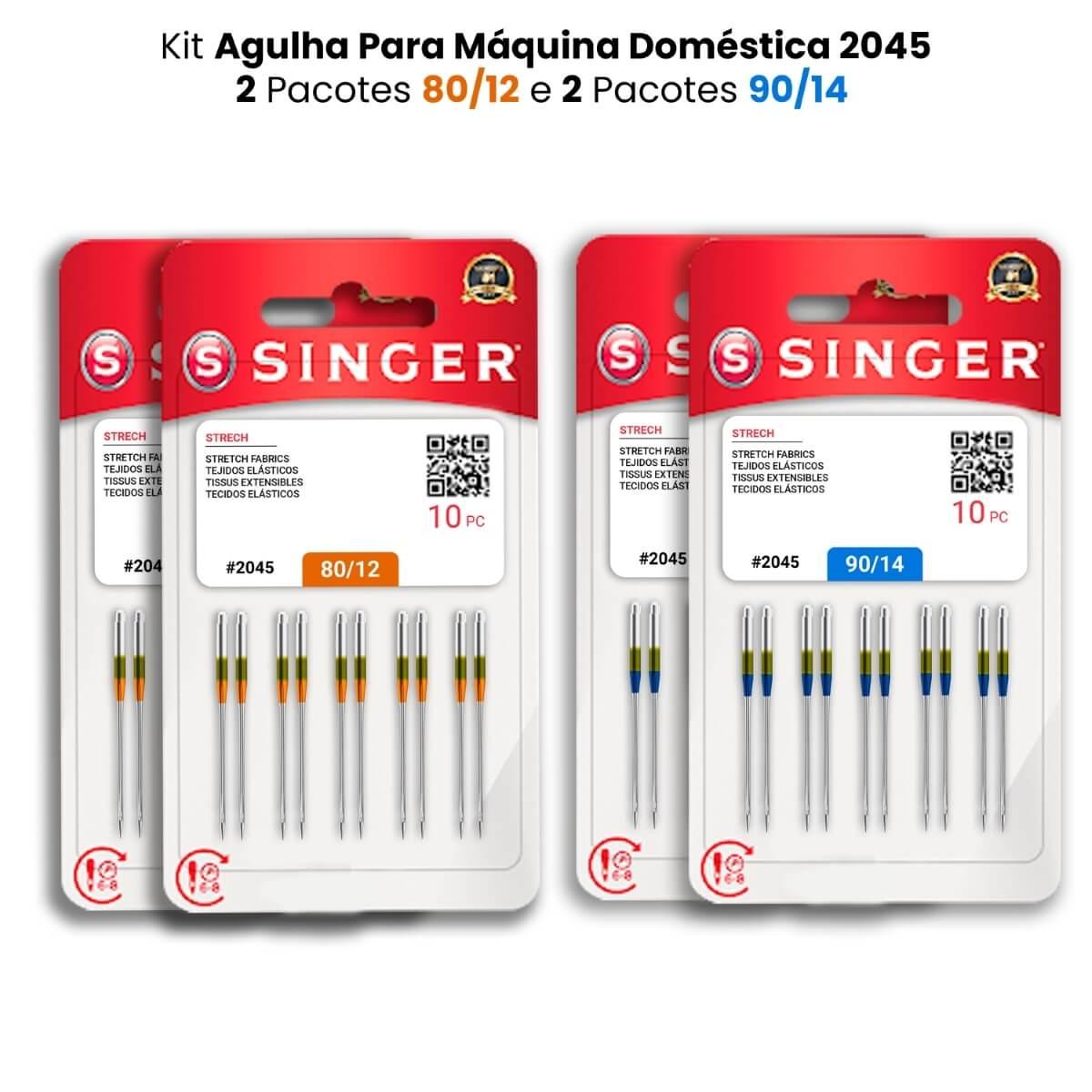 Agulha Singer Para Máquina de Costura Domestica 2045 130/705 Kit com 2 PCT 80/12 e 2 PCT 90/14  - Pavvia Agulhas e Peças