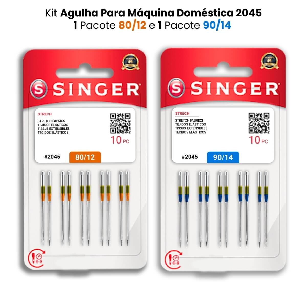 Agulha Singer Para Máquina de Costura Domestica 2045 130/705 Kit com 80/12 e 90/14  - Pavvia Agulhas e Peças