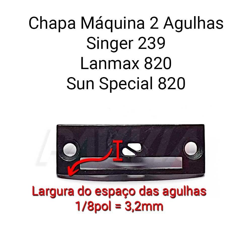 Chapa Para Máquina De 2 Agulhas Singer 239 LM 820 SS 820 3/16 3.2  - Pavvia Agulhas e Peças
