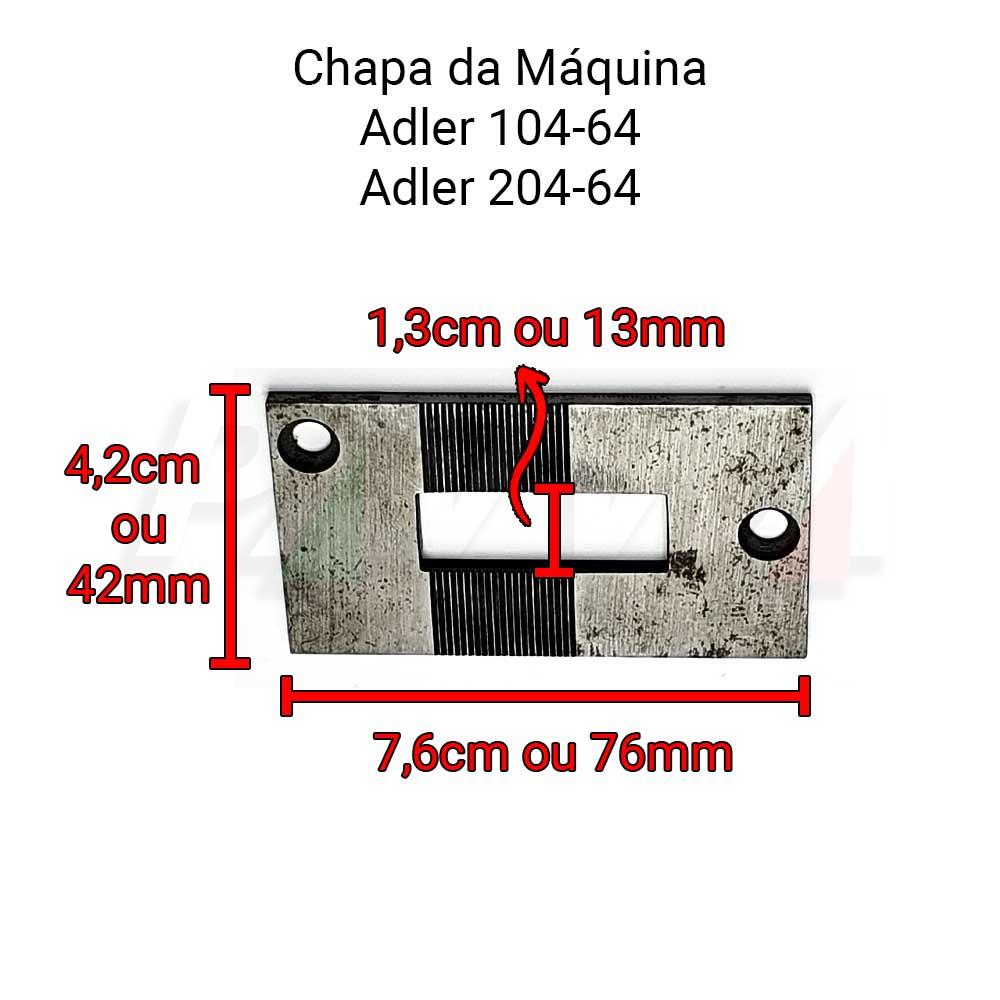 Chapa Para Máquina Transporte Duplo De Selaria Adler 104-64 105-64 204-64 205-64  - Pavvia Agulhas e Peças