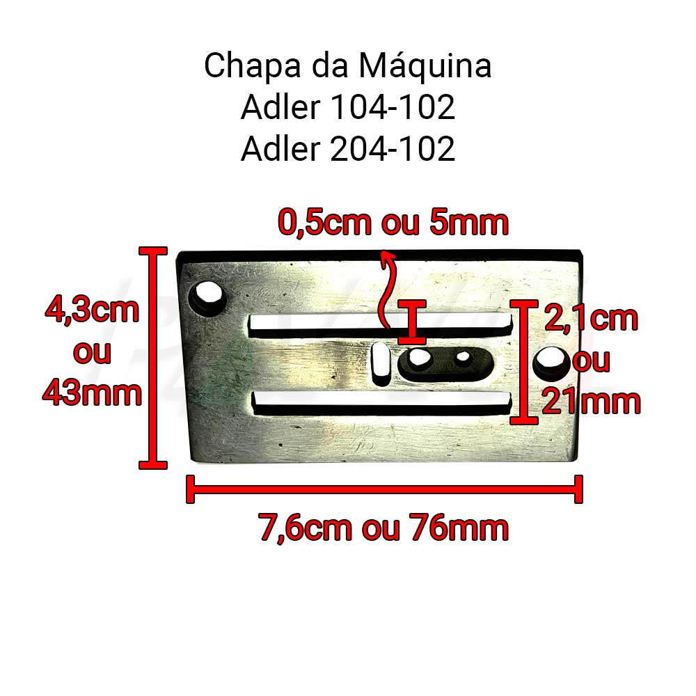 Chapa Ponto, Serrilha E Guia Para Relevo ADLER 104 E 204  - Pavvia Agulhas e Peças