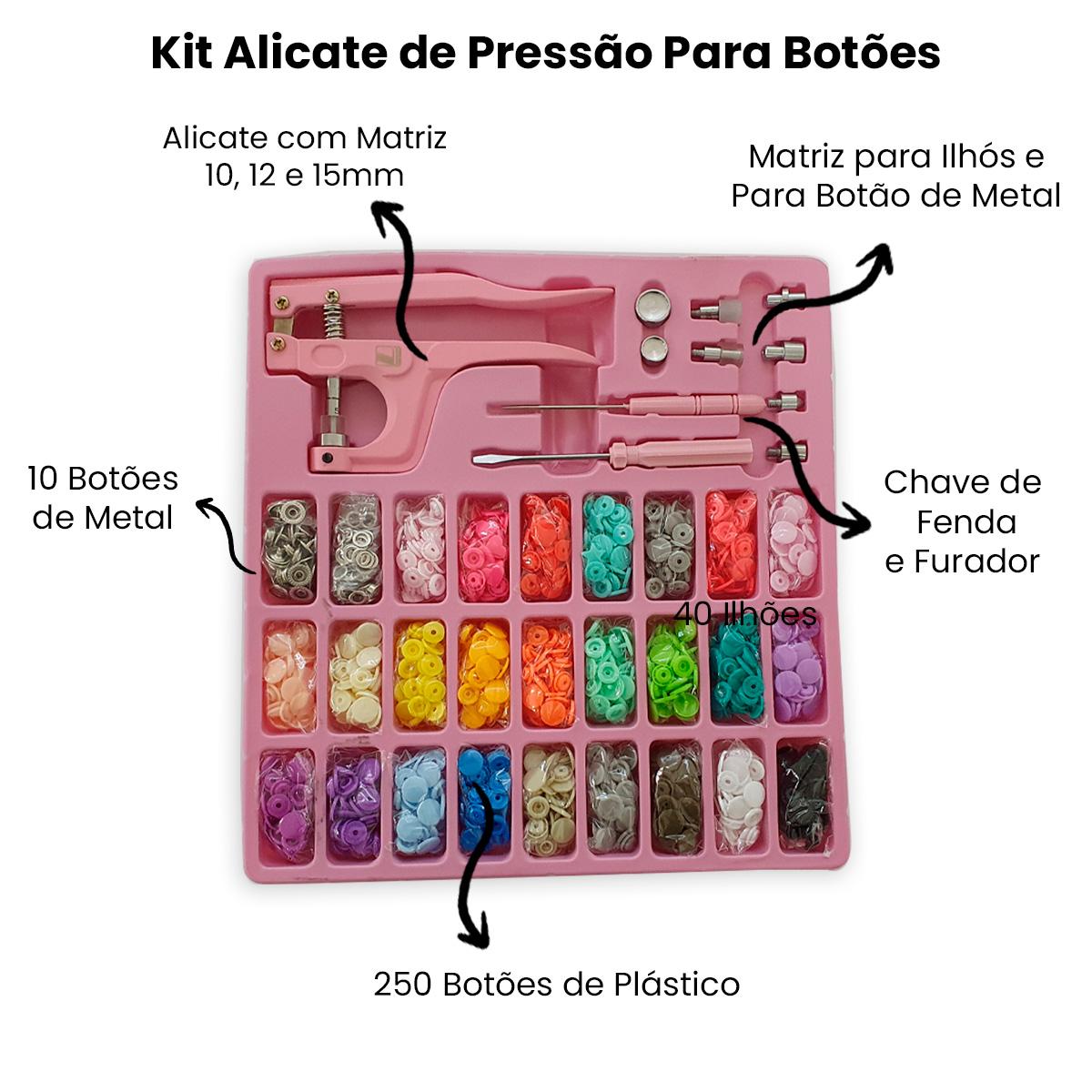 Kit Alicate 3 em 1 Para Aplicar Botões e Ilhós  - Pavvia Agulhas e Peças