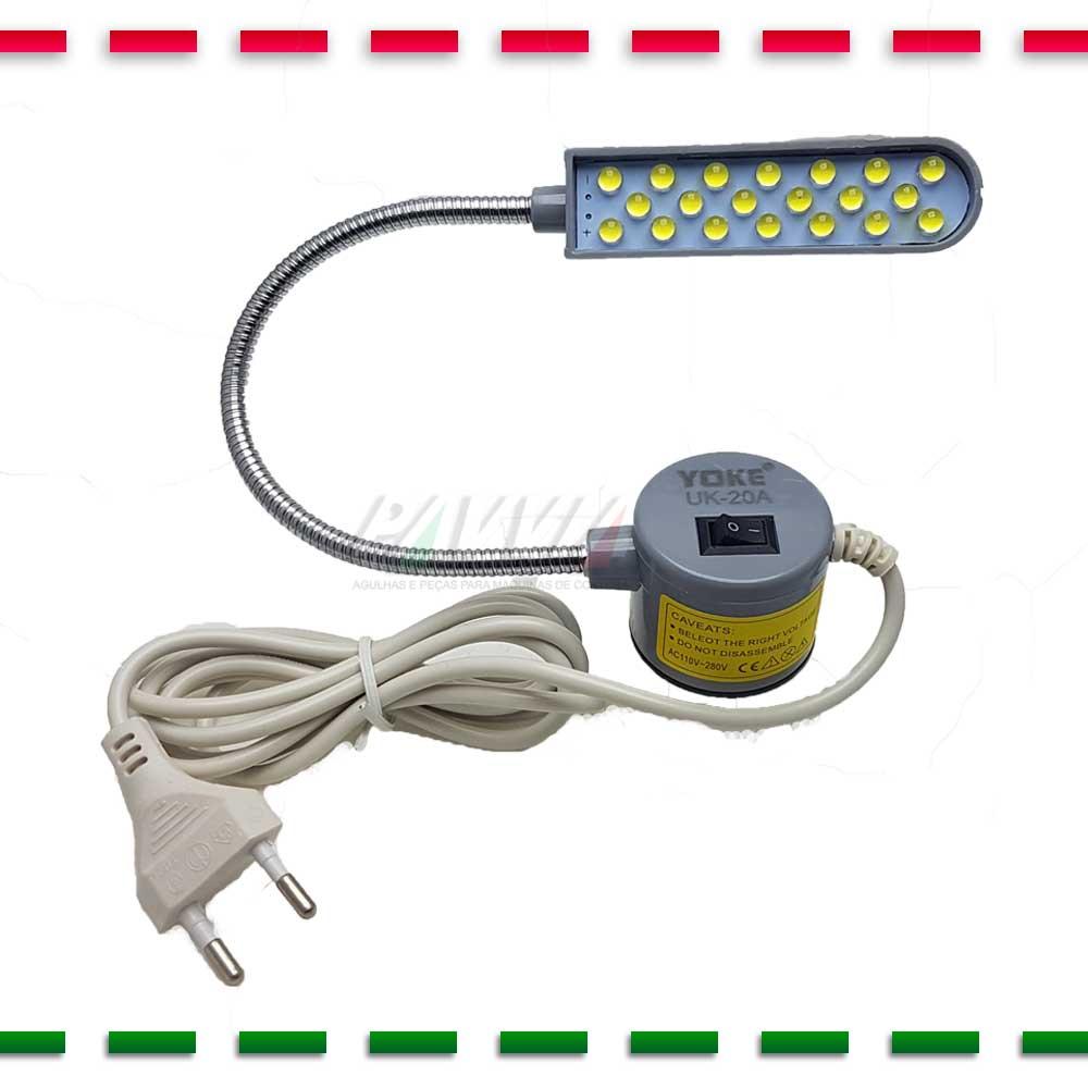 Luminária 20 Leds Com Haste Flexível e Tomada Para Máquina Costura  - Pavvia Agulhas e Peças