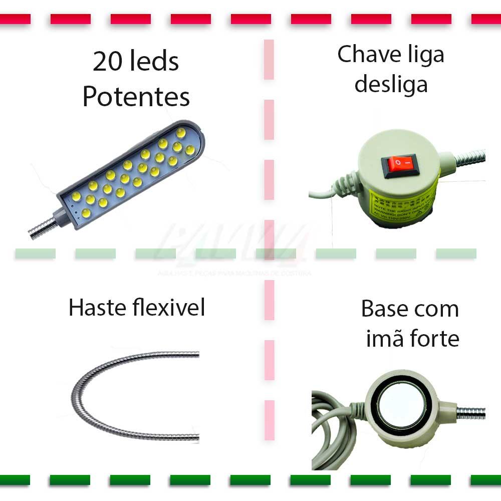 Luminária Led (Neon) com Haste Flexível Para Máquina Costura  - Pavvia Agulhas e Peças