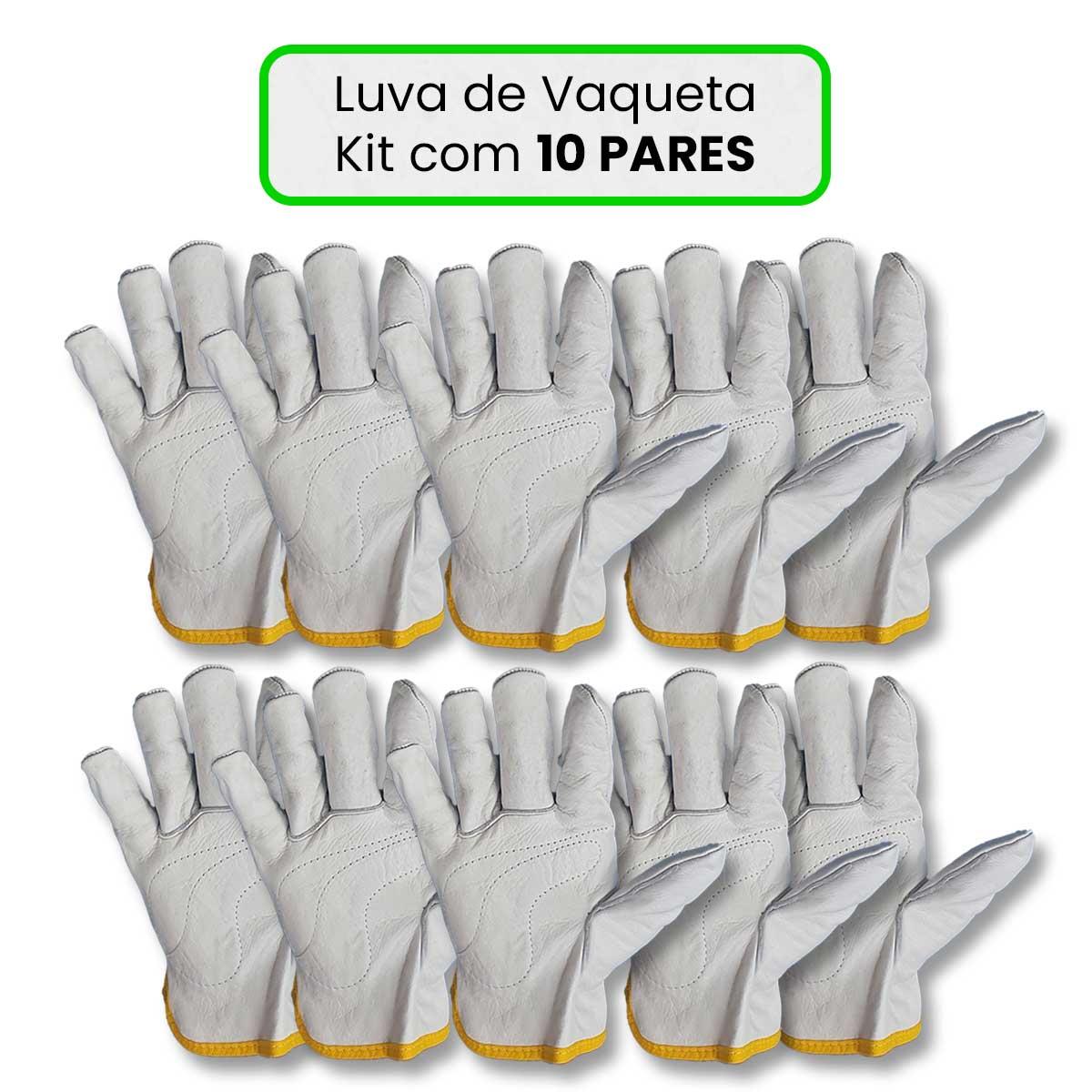Luva De Vaqueta Cano Curto Kit com 10 Pares  - Pavvia Agulhas e Peças