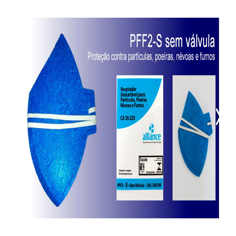 Máscara Respiratória Semifacial N95 Antiviral PFF2 Sem Válvula - ALLIANCE-UAL200700 Kit Com 10 Unidades  - Pavvia Agulhas e Peças