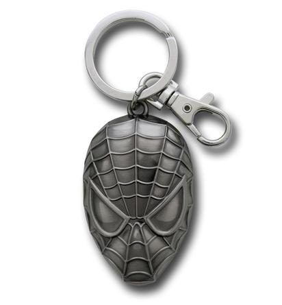 Chaveiro em Metal Spider Man Rosto prateado