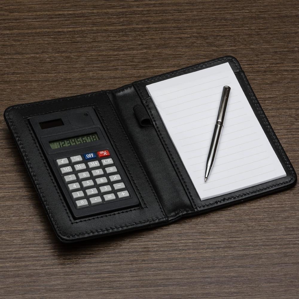 Bloco de Couro Sintético com Calculadora e Caneta Personalizado