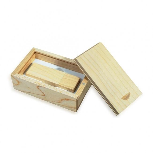 Conjunto Estojo e Pen Drive Bambu Personalizado
