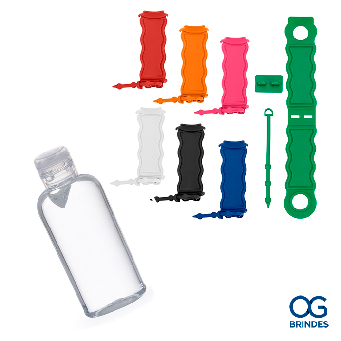 KIT - Álcool Gel 60ml com Chaveiro Porta Álcool em Gel Personalizado