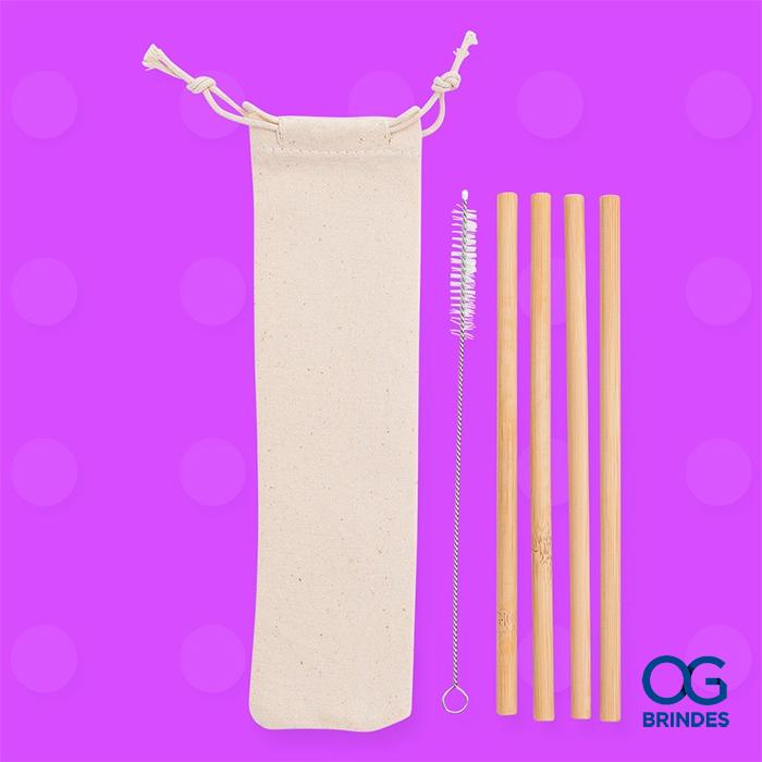 Kit Canudos de Bambu Personalizado - BG072