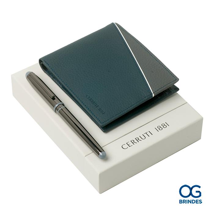 Kit Carteira e Caneta Roller CERRUTI Personalizado - 42050