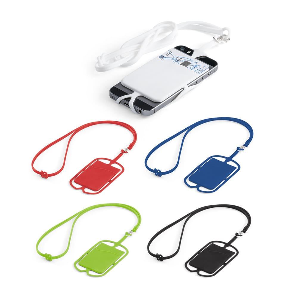 Porta cartões com cordão e suporte para celular personalizado
