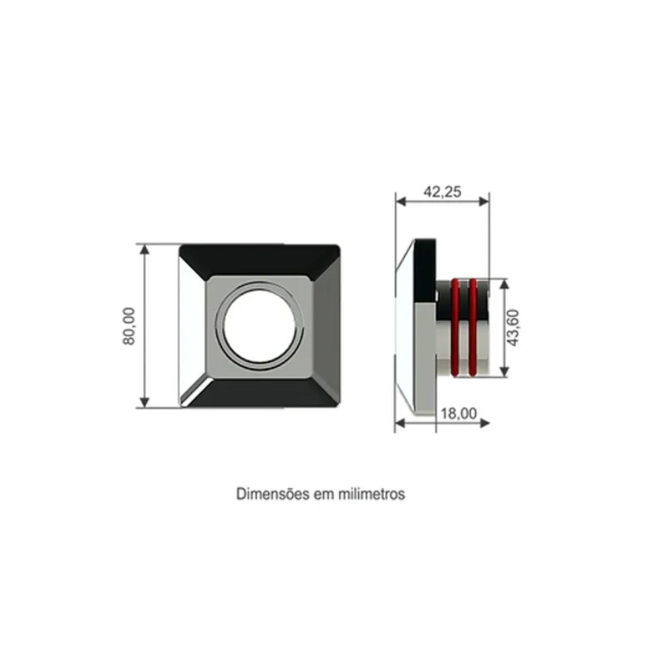 Dispositivo Aspiração Quadrado em Inox